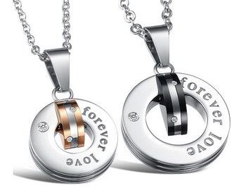 Our Love Lasts Forever - Couples Necklaces / Girlfriend and Boyfriend Necklaces / His and Hers Necklaces / Matching Jewelry for Couples
