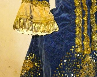antique French velvet ornate gold metallic  lace trimmed child theate costume dress bullion fringe