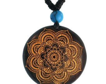 Wood chain golden flower multi-layer turquoise stone Sonoholz cotton adjustable (KH-112)