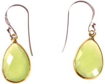 Silver earrings drop stone gold plated 925 sterling silver calcite light green faceted earrings (No. OSG-74)