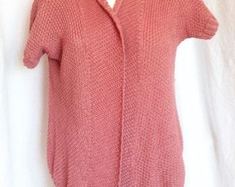 Cardigan / jacket / vest, old rose, short sleeves, handmade, T 40 / 42.
