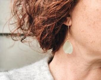 Green drop earrings, Green jade earrings, Chinese earrings, Mint green dangle earrings, Jade and gold earrings