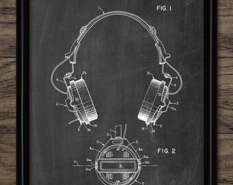 Headphones Patent Print - 1981 Audio Headphones Design - Music Wall Art - Music Gift Printable Art - Single Print #2267 - INSTANT DOWNLOAD