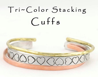 Stamped Stacking Cuffs , Hammered Textured Skinny Brass Copper Aluminum Bracelets Tri Colored Engraved Bracelet Gifts For Her, Heart Jewelry