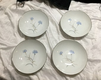 Sango Corn Flower Fine China Lot of 4 Soup Bowls Cornflower