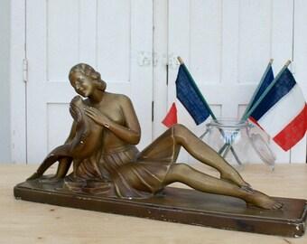 Large Vintage Art Deco Plaster Figure