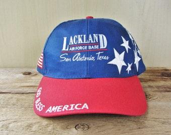 Lackland U S Air Force Base Bless America Vintage Baseball Cap San Antonio Texas Usa Stars