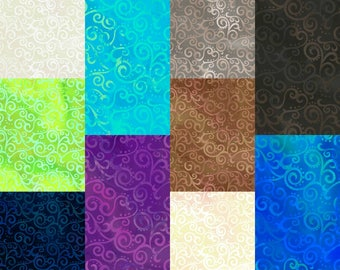 "Ombre Scroll 108"" Wide Quilt Back Fabric; Third Yard, Half Yard, or By-The-Yard; Quilting Treasures 24775; Cotton Wide Quilt Backing Fabric"