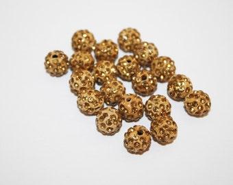 Shamballa Beads, Shamballa Bracelet Beads, Polymer, Clay, Paved, Crystal, Golden Rhinestone Beads - 10mm - 20ct - #620