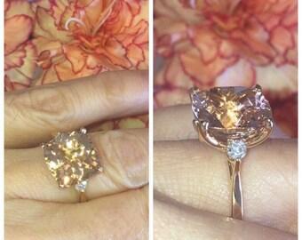 Morganite Engagement Ring 6.40ct Cushion Cut Morganite/Moissanites Rose Gold Cocktail Ring Nature Bloomed Love Ring Pristine Custom Rings