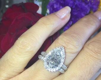 Supernova Moissanite Engagement Ring 3.50ct Pear Shaped Ring 1.10ct Natural Diamonds Halo Pave Wedding Band Set Pristine Custom Rings