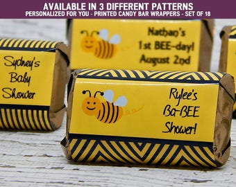 Bumble Bee Baby Shower - Bee Themed Baby Shower - Bumble Bee Baby Shower Decorations - Candy Bar Wrappers - Set of 18