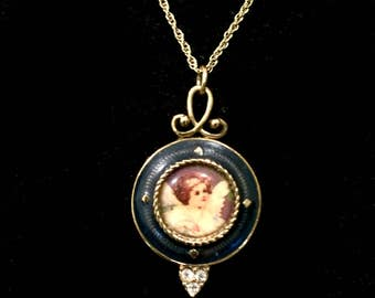 Vintage guardian cherub angel cameo rhinestone locket necklace