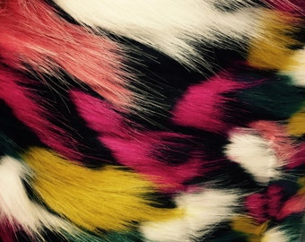 Black multi color jacquard faux fun fur-shaggyfun fur-super soft faux fun fur-sold by the yard.