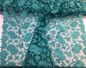 Jade daisy flower designe embroider on a mesh lace - yard