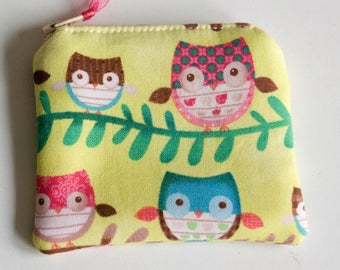 Mini-Sized Fabric Zippy Coin/Change Purse - Kids - Ladies - Gift - Owls