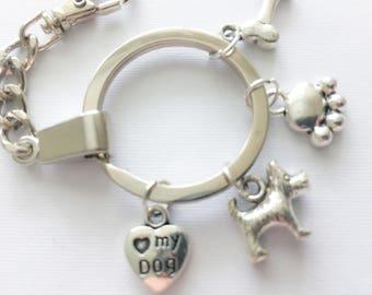 Scotty Dog Keyring, Beautiful Silver Plated Dog Lovers charm Keyring, Scotty, Scottie, Westie, Terrier, Scotty Dog, Keychain, Pawprint, Hear