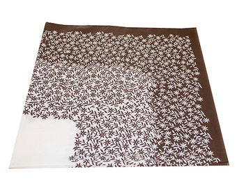 Floral Tablecloth, Brown, White, Rectangle Tablecloth, Vintage Tablecloth,  Made in Israel