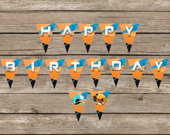Wakeboarding Birthday Banner Surfer Birthday Banner Party Decor Ocean Surfer Skateboard Orange Blue Printable 8.5x11