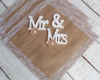 "Burlap and Lace Wedding Squares 20"" x 20"" - Table Toppers - Table Cloth - Centerpiece - Burlap Overlay - Set of 4"