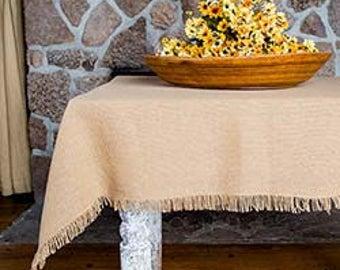 """Burlap Table Cloth - 70"""" x 70"""" - Rustic Burlap Square Table Cloth - Rustic Table Decor - Rustic Wedding Tablecloth - Set of 2"""