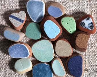 16 pieces / Italian genuine small Sea Pottery for collection, jewelry making or mosaic (sp-0016-2)