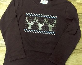 Deer faux smocked romper or shirt