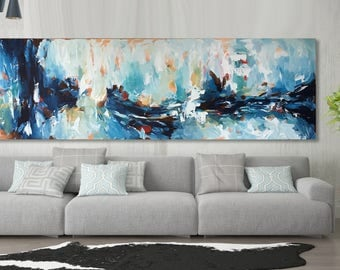 Extra Large Abstract Wall Art - Original Painting - Custom Sizes Available - FREE SHIPPING - Hand Painting On Canvas - Blue, White, Pink Art