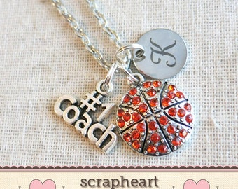 Senior Night BASKETBALL Necklace, BASKETBALL COACH Initial Charm Necklace, Basketball Mom Player Necklace Jewelry, Basketball Team Gifts -00