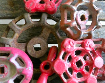 Set of 8 Water Faucet Handles, Cast Iron Valve Handle, Red Metal Garden Spigot Knobs, Outdoor Faucet Knob Collection