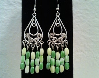 Gorgeous Sterling Silver and Green Glass Earrings