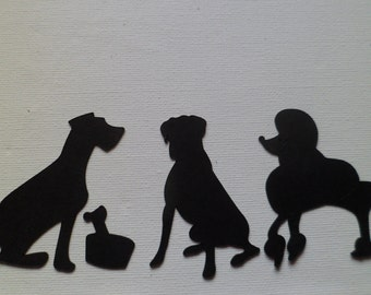 Silhouette Die Cut Dogs x 12 (4 of each)
