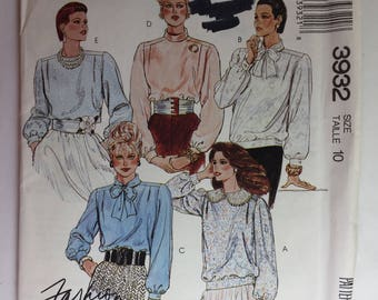 Vintage 80's McCall's 3932 Fashion Basices Misses' Blouse Pattern and Tie Bow size 10 uncut
