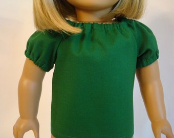 Green Cotton Peasant Top for American Girl Doll and 18-inch Dolls