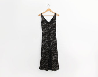 Black floral vintage bias midi dress with split and double layer