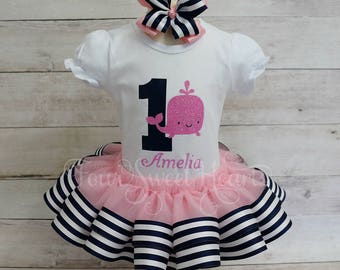Nautical Birthday Outfit, Girls Whale First Birthday, Girl Whale Outfit, Girl Birthday Outfit, Girl Sailor Birthday Outfit, Whale Tutu