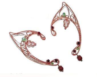 Copper Woodland ear jewelry, Elf Ears for elf costume, Elven ears for wood elf cosplay, elvish jewelry, copper elf ears, fantasy lover gift