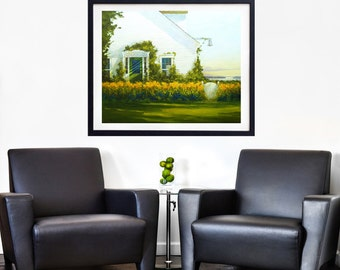 Large impressionist landscape painting, Large Giclee landscape print, Oil painting, Art print, Impressionism, Yellow and green, Maine art