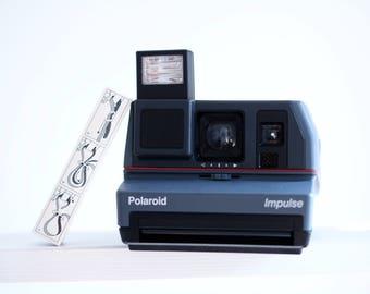 Vintage Grey Impulse Polaroid Camera - Working Condition - Original strap, Manual and Box