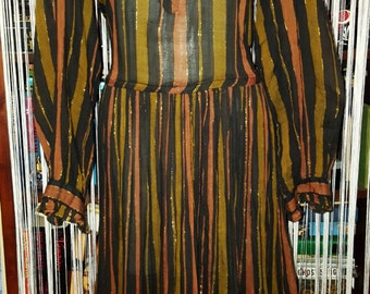 Highly collectible vintage striped cotton gauze Adini dress with metallic accents L