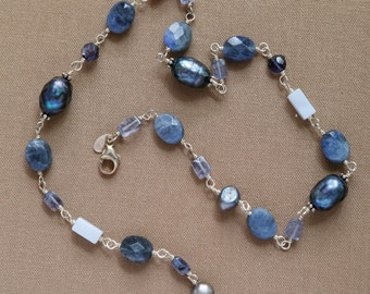 Blue lace beads, sodalite and gray freshwater pearl necklace