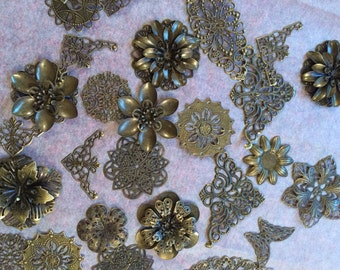 20 Bronze Metal Embellishments, filigree findings, embellishment, jewellery supplies, craft supplies, metal flowers, mixed media