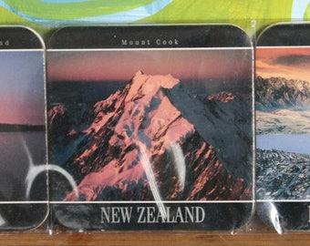Vintage Cork Backed New Zealand Souvenir Bar Coasters Set of 6 Unused