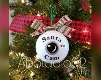 Santa Camera Ornament, Santa Cam Ornament, Santa Spy Ornament, Santa's Watching, Personalized Ornament, Santa's Spy Camera, Santa Elf Camera