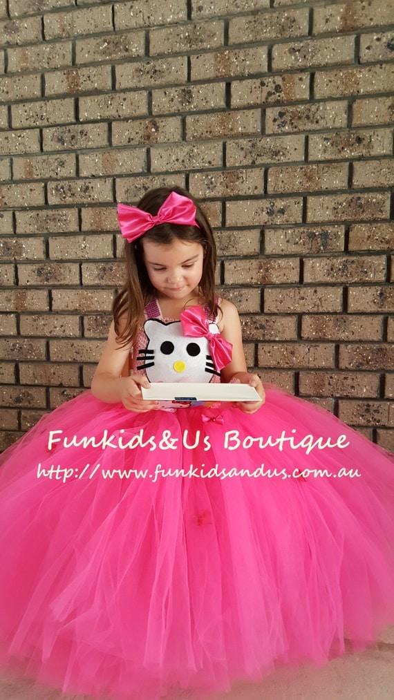 Hello kitty inspired tutu dress and Headband Bow Kitty