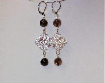 Smoky Quartz & Silver Earrings