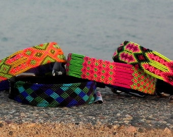 Ethnic Dog Collar with handmade textile from Chiapas, México, Made to order