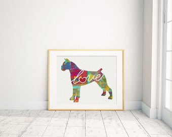 Boxer With Cropped Ears - A Watercolor Style Gift for Dog Lovers - Wall Art Home Decor - Dog Breed Artwork - Can be Personalized with Name