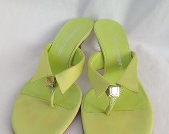 "vintage EMANUEL UNGARO Paris ""shirt collar"" emerald rhinestone jeweled sandals/ chartreuse + pink/ ""e"" ""u"" gold charms: size 4.5 M"