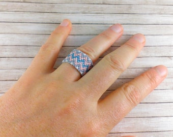 Pink ring Wide band ring Blue ring Statement ring Beaded ring Gray ring Delicate ring Unusual ring Pastel ring Bohemian Boho ring